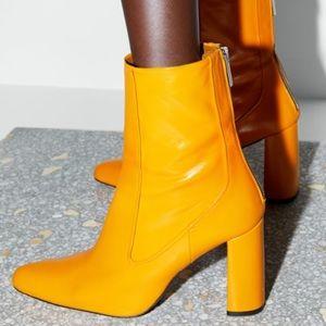 Zara heeled leather orange ankle boots